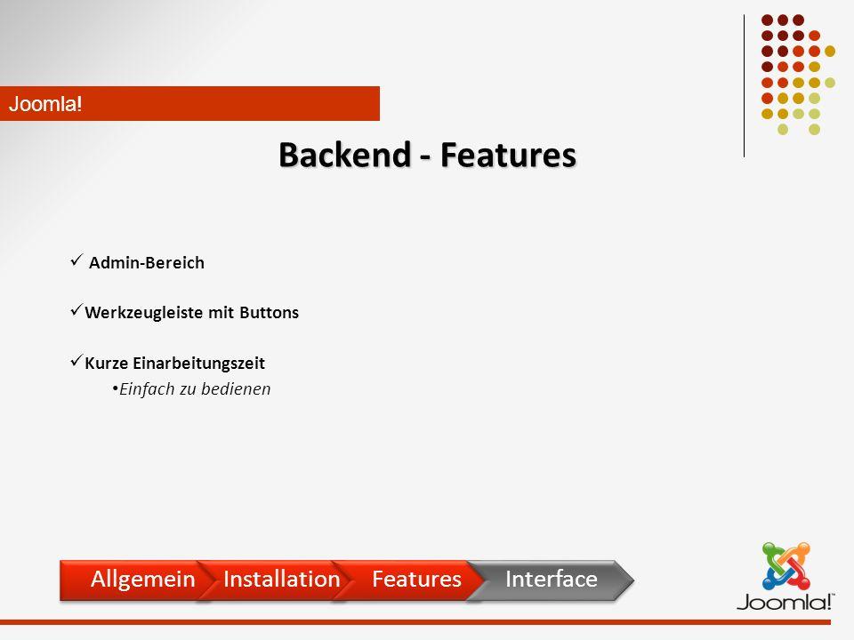 Admin-Bereich Werkzeugleiste mit Buttons Kurze Einarbeitungszeit Einfach zu bedienen Joomla.