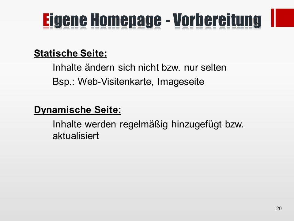 Statische Seite: Inhalte ändern sich nicht bzw.