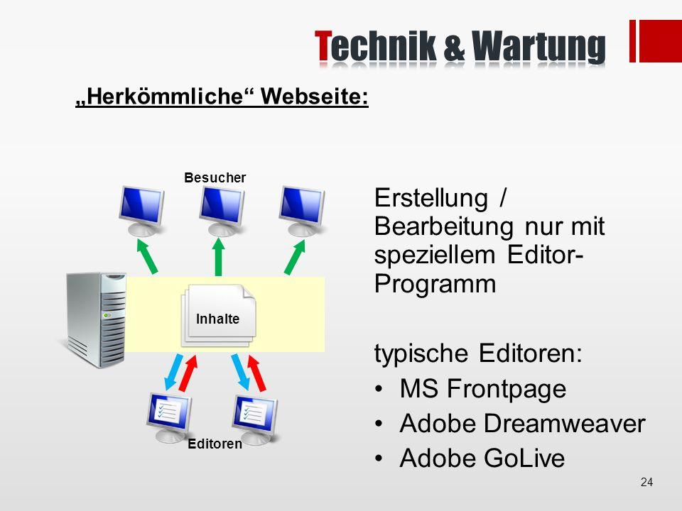 Herkömmliche Webseite: Besucher Inhalte Editoren Erstellung / Bearbeitung nur mit speziellem Editor- Programm typische Editoren: MS Frontpage Adobe Dreamweaver Adobe GoLive 24
