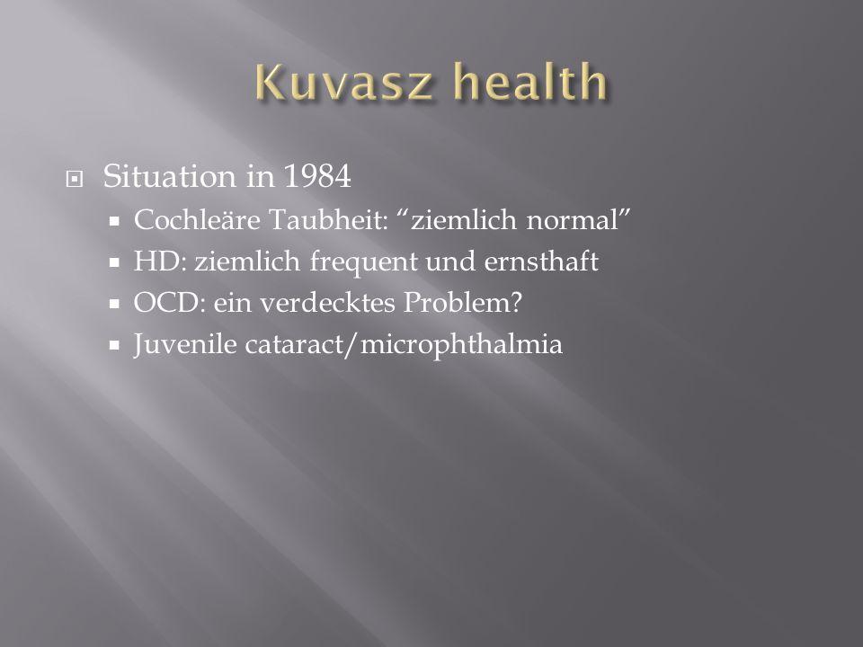 Situation in 1984 Cochleäre Taubheit: ziemlich normal HD: ziemlich frequent und ernsthaft OCD: ein verdecktes Problem? Juvenile cataract/microphthalmi