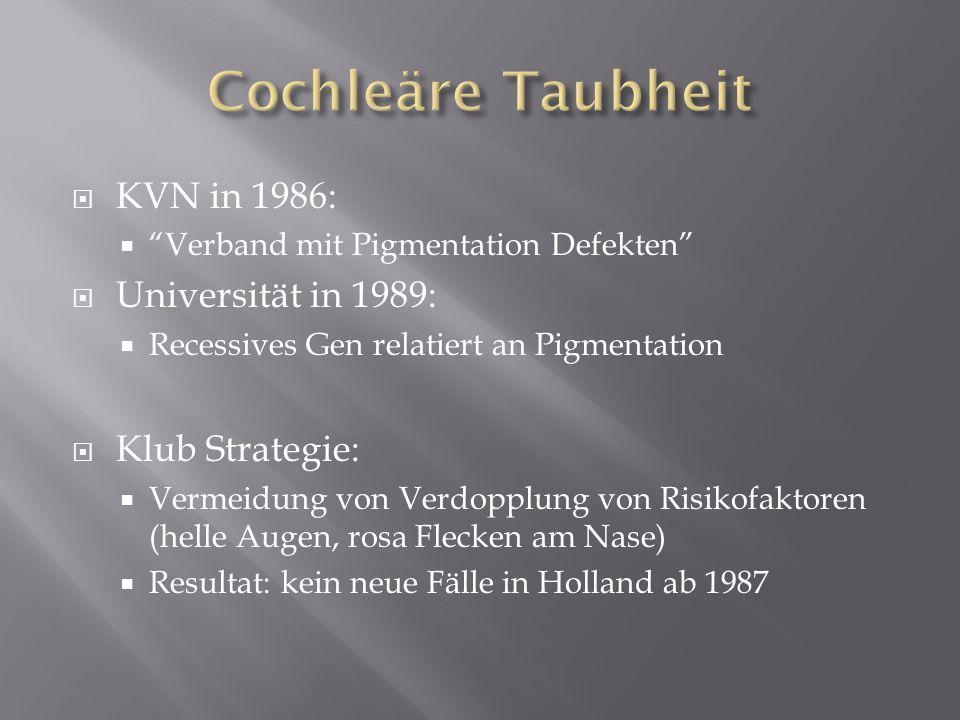 KVN in 1986: Verband mit Pigmentation Defekten Universität in 1989: Recessives Gen relatiert an Pigmentation Klub Strategie: Vermeidung von Verdopplun