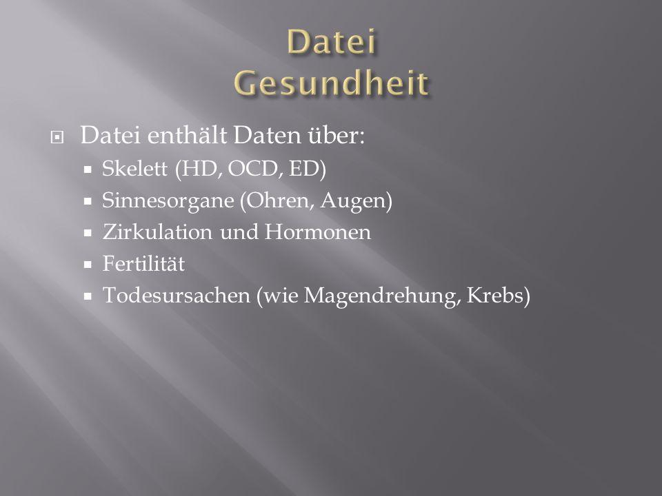 Datei enthält Daten über: Skelett (HD, OCD, ED) Sinnesorgane (Ohren, Augen) Zirkulation und Hormonen Fertilität Todesursachen (wie Magendrehung, Krebs