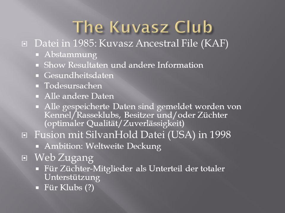 Datei in 1985: Kuvasz Ancestral File (KAF) Abstammung Show Resultaten und andere Information Gesundheitsdaten Todesursachen Alle andere Daten Alle ges