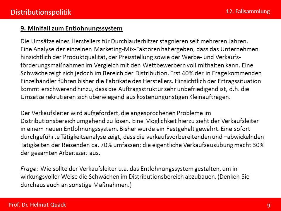 Distributionspolitik 12. Fallsammlung Prof. Dr. Helmut Quack 9 9. Minifall zum Entlohnungssystem Die Umsätze eines Herstellers für Durchlauferhitzer s