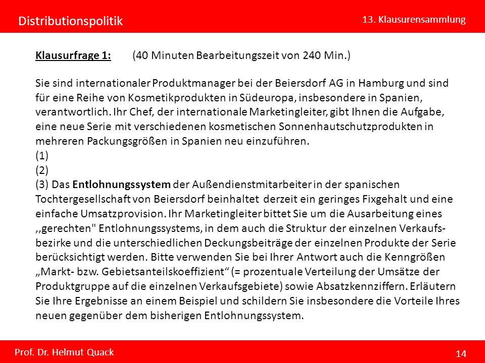 Distributionspolitik 13. Klausurensammlung Prof. Dr. Helmut Quack 14 Klausurfrage 1: (40 Minuten Bearbeitungszeit von 240 Min.) Sie sind international