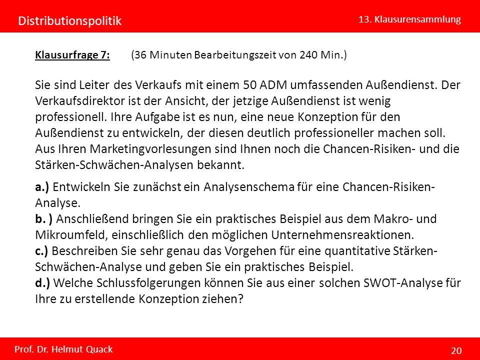 Distributionspolitik 13. Klausurensammlung Prof. Dr. Helmut Quack 20 Klausurfrage 7: (36 Minuten Bearbeitungszeit von 240 Min.) Sie sind Leiter des Ve