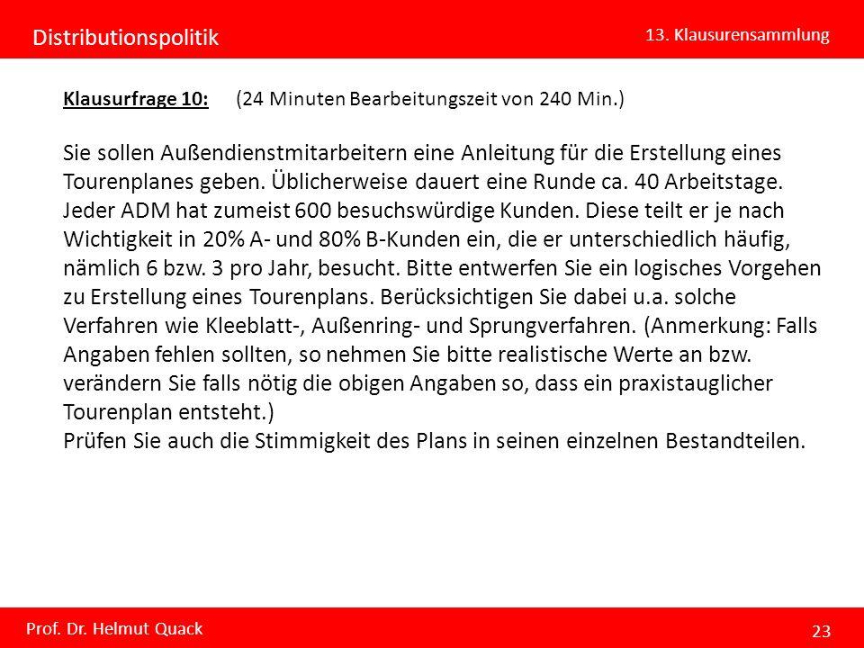 Distributionspolitik 13. Klausurensammlung Prof. Dr. Helmut Quack 23 Klausurfrage 10: (24 Minuten Bearbeitungszeit von 240 Min.) Sie sollen Außendiens