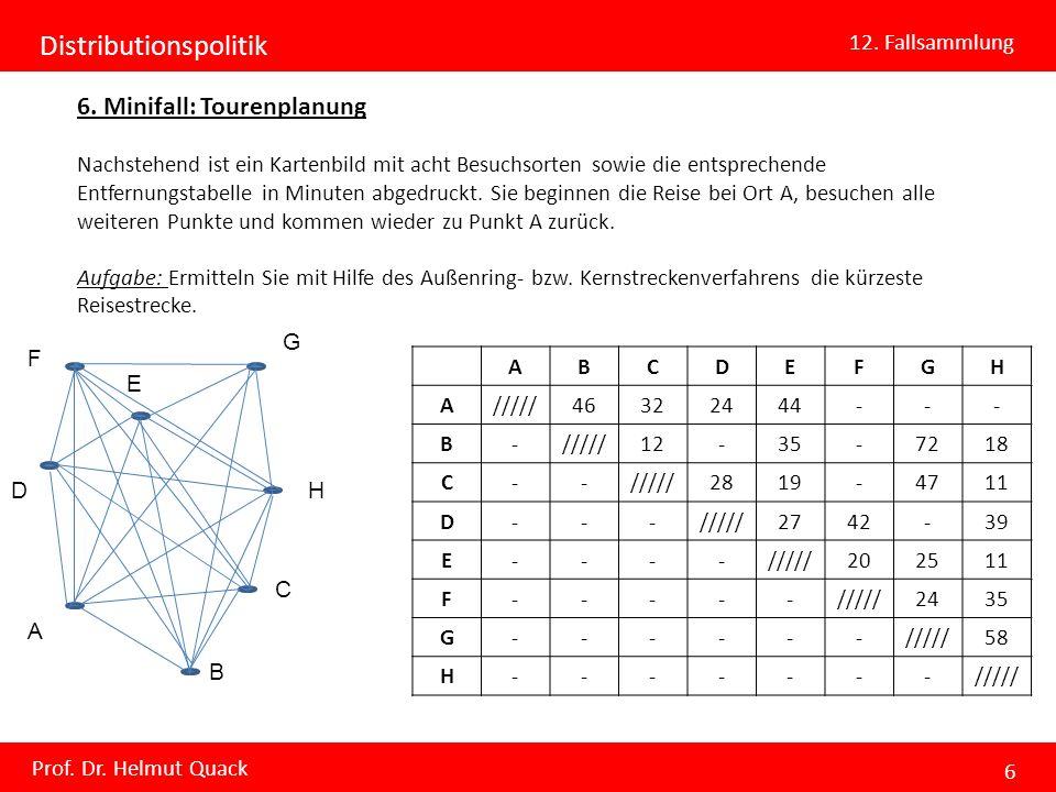 Distributionspolitik 12. Fallsammlung Prof. Dr. Helmut Quack 6 6. Minifall: Tourenplanung Nachstehend ist ein Kartenbild mit acht Besuchsorten sowie d
