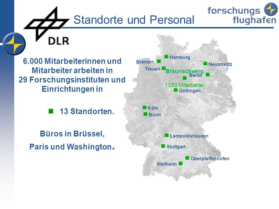 Standorte und Personal Köln Lampoldshausen Stuttgart Oberpfaffenhofen Braunschweig 1050 Mitarbeiter Göttingen Berlin- Bonn Trauen Hamburg Neustrelitz