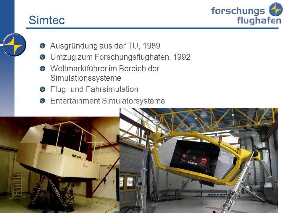 Simtec Ausgründung aus der TU, 1989 Umzug zum Forschungsflughafen, 1992 Weltmarktführer im Bereich der Simulationssysteme Flug- und Fahrsimulation Ent