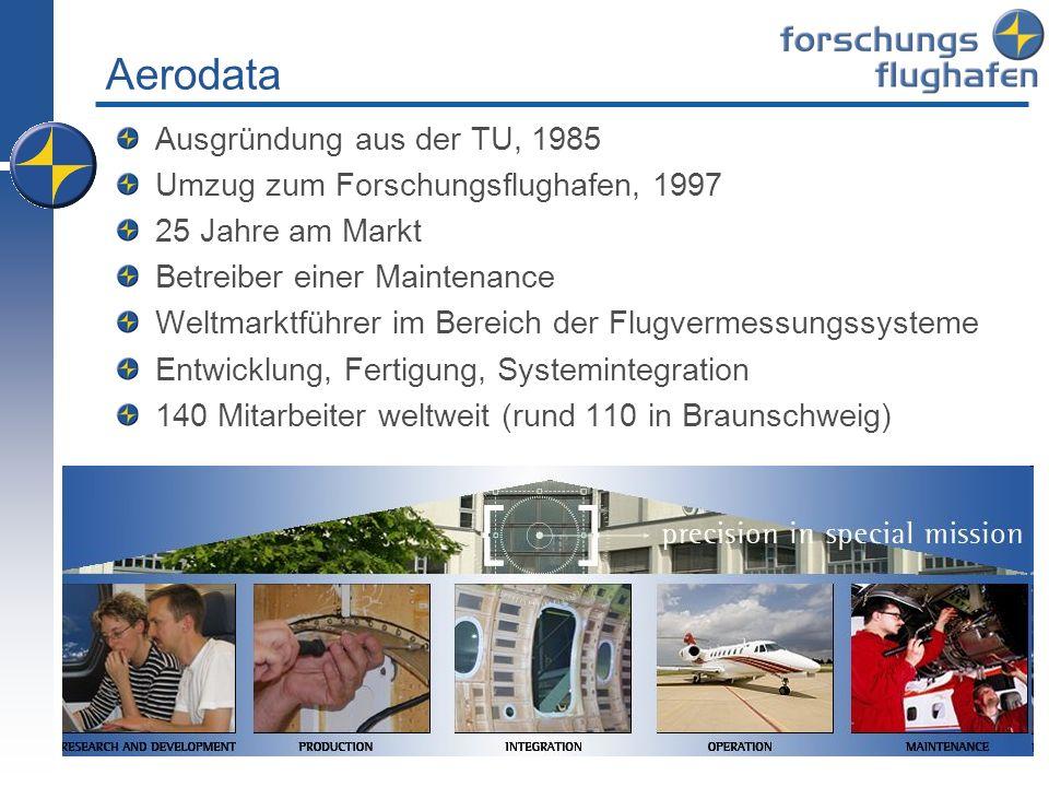 Aerodata Ausgründung aus der TU, 1985 Umzug zum Forschungsflughafen, 1997 25 Jahre am Markt Betreiber einer Maintenance Weltmarktführer im Bereich der