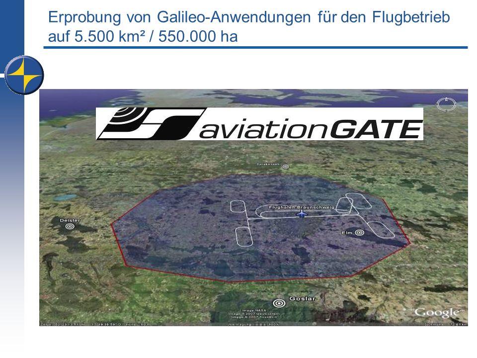 Erprobung von Galileo-Anwendungen für den Flugbetrieb auf 5.500 km² / 550.000 ha