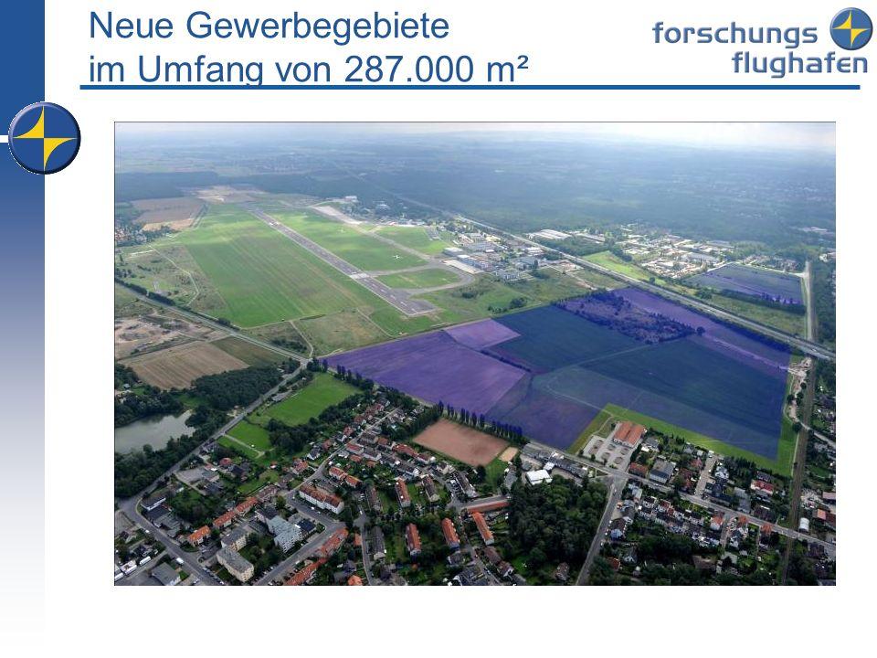Neue Gewerbegebiete im Umfang von 287.000 m²