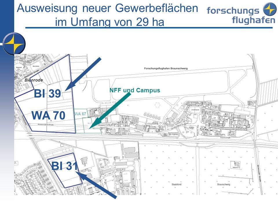 Ausweisung neuer Gewerbeflächen im Umfang von 29 ha WA 70 BI 39 BI 31 NFF und Campus WA 67