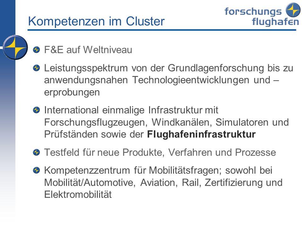 Kompetenzen im Cluster F&E auf Weltniveau Leistungsspektrum von der Grundlagenforschung bis zu anwendungsnahen Technologieentwicklungen und – erprobun