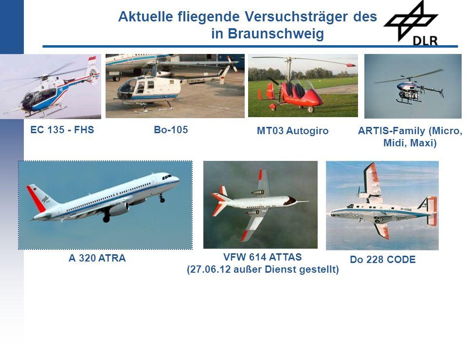 EC 135 - FHS VFW 614 ATTAS (27.06.12 außer Dienst gestellt) ARTIS-Family (Micro, Midi, Maxi) Bo-105 A 320 ATRA MT03 Autogiro Do 228 CODE Aktuelle flie