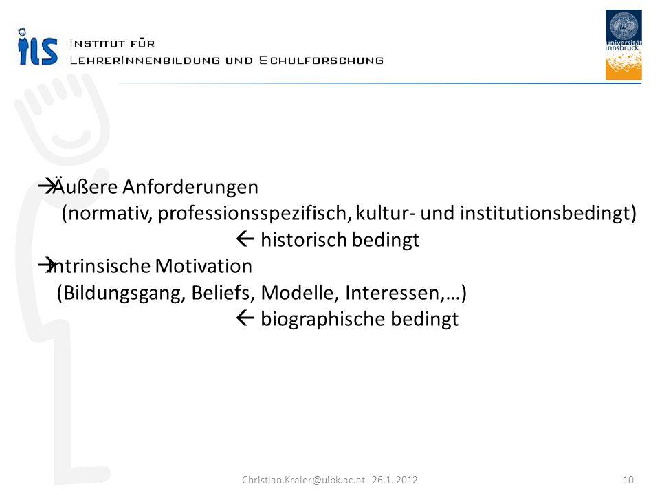 Christian.Kraler@uibk.ac.at 26.1. 2012 10 Äußere Anforderungen (normativ, professionsspezifisch, kultur- und institutionsbedingt) historisch bedingt I