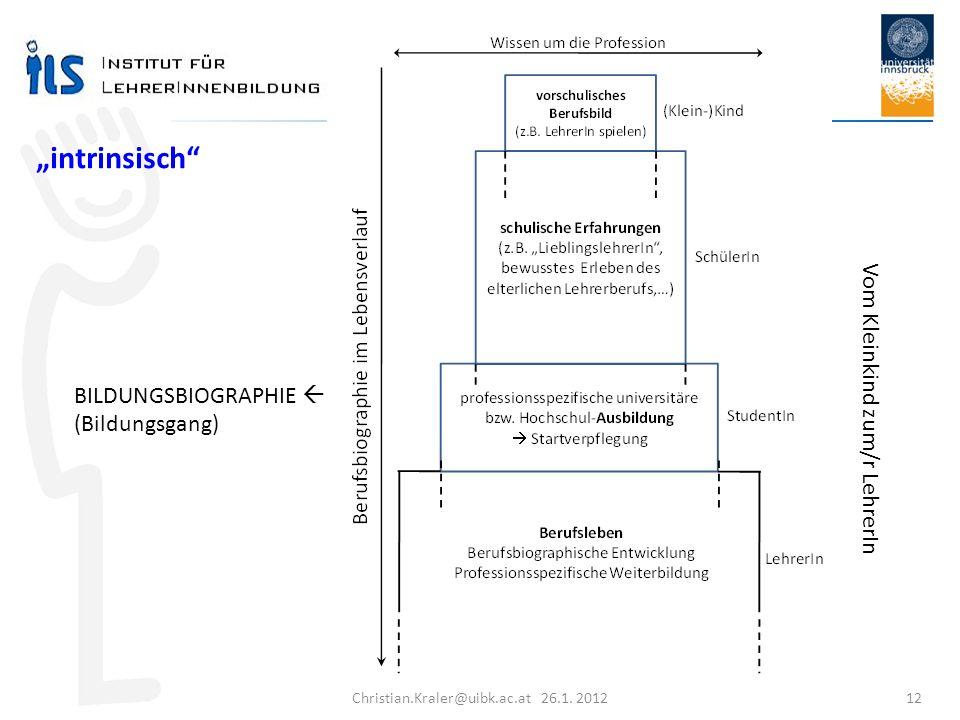 Christian.Kraler@uibk.ac.at 26.1. 2012 12 Vom Kleinkind zum/r LehrerIn intrinsisch BILDUNGSBIOGRAPHIE (Bildungsgang)