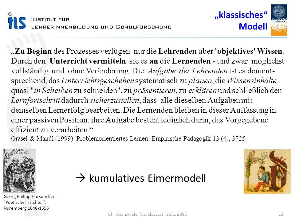 Christian.Kraler@uibk.ac.at 26.1. 2012 13 Zu Beginn des Prozesses verfügen nur die Lehrenden über 'objektives' Wissen. Durch den Unterricht vermitteln