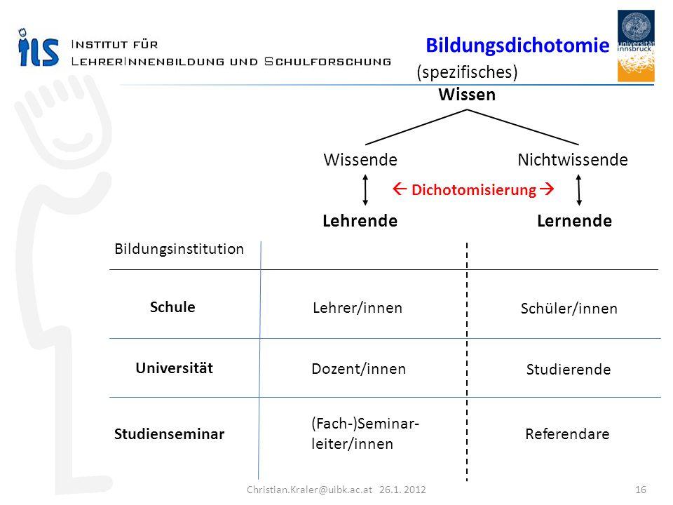 Christian.Kraler@uibk.ac.at 26.1. 2012 16 (spezifisches) Wissen WissendeNichtwissende Lehrende Lernende Lehrer/innen Schüler/innen Dozent/innen Studie