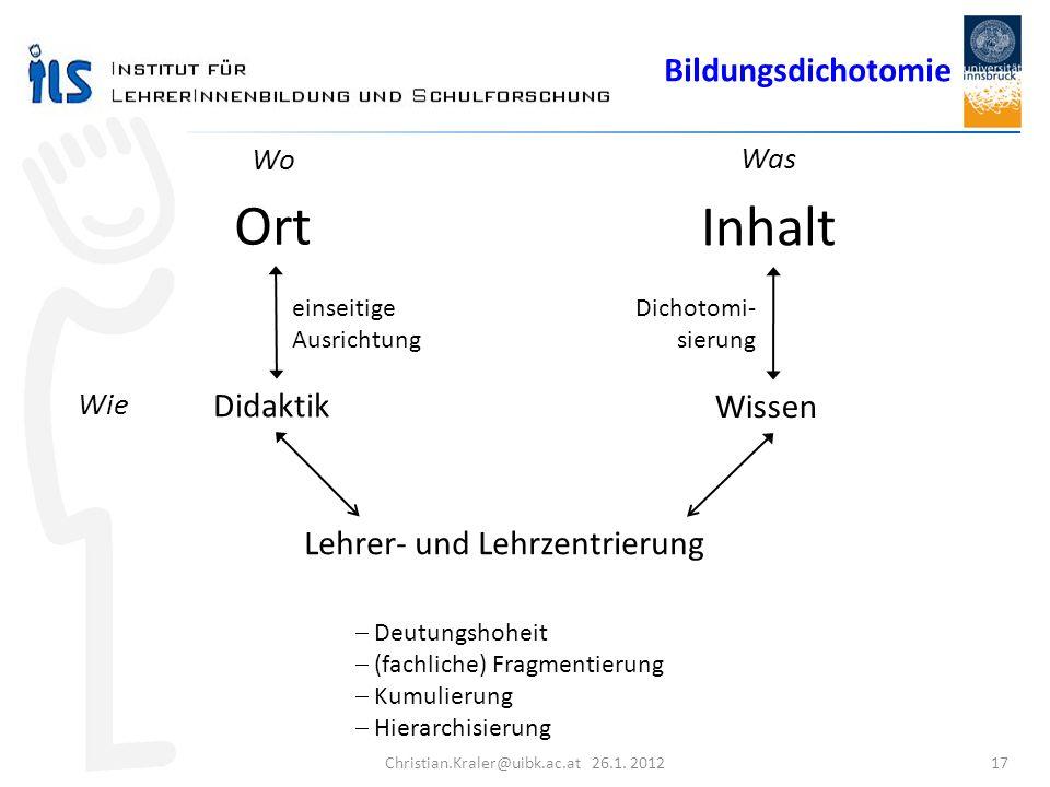 Christian.Kraler@uibk.ac.at 26.1. 2012 17 Inhalt Ort Wo Was Didaktik Wissen einseitige Ausrichtung Dichotomi- sierung Lehrer- und Lehrzentrierung Wie