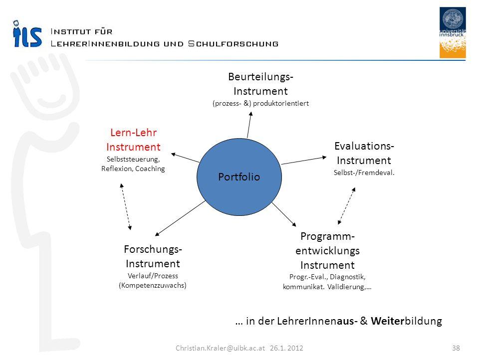 Christian.Kraler@uibk.ac.at 26.1. 2012 38 … in der LehrerInnenaus- & Weiterbildung Portfolio Lern-Lehr Instrument Selbststeuerung, Reflexion, Coaching