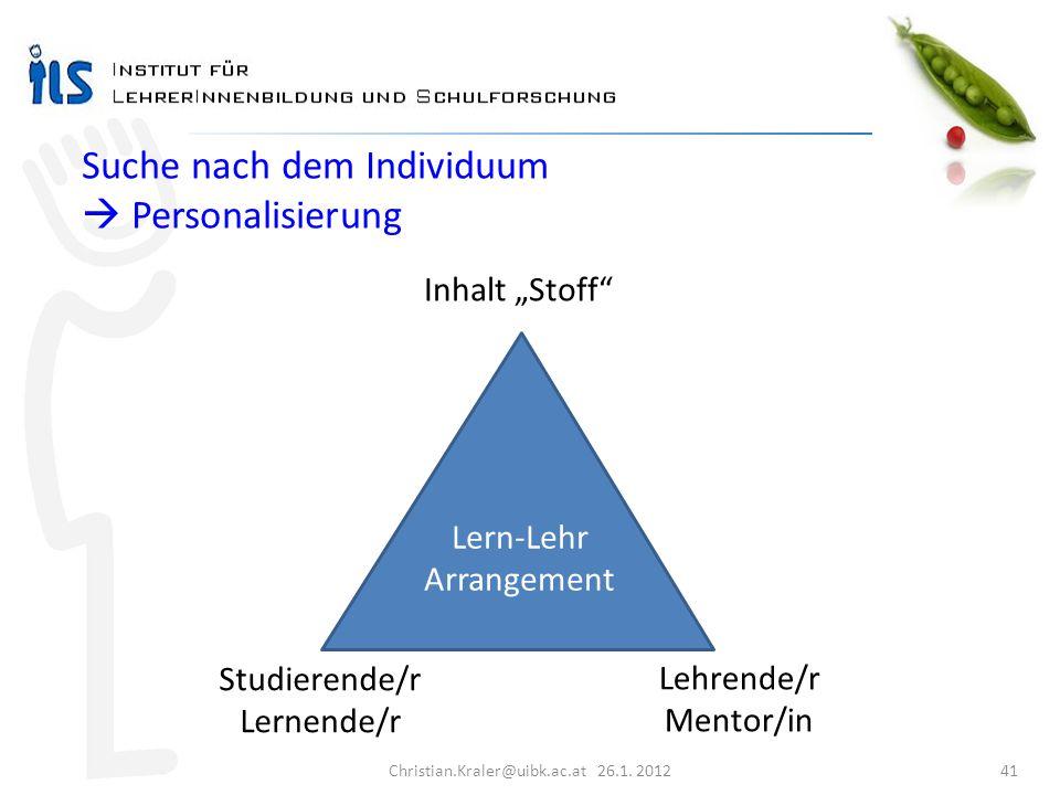 Christian.Kraler@uibk.ac.at 26.1. 2012 41 Studierende/r Lernende/r Lehrende/r Mentor/in Inhalt Stoff Lern-Lehr Arrangement Suche nach dem Individuum P