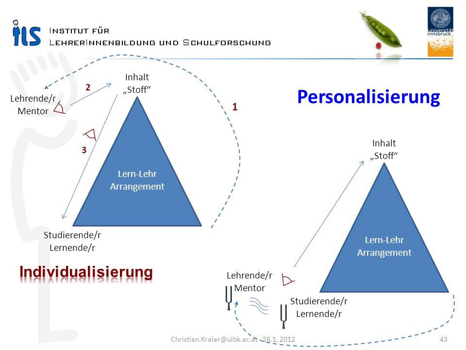 Christian.Kraler@uibk.ac.at 26.1. 2012 43 Studierende/r Lernende/r Lehrende/r Mentor Inhalt Stoff Lern-Lehr Arrangement 1 2 3 Personalisierung Studier