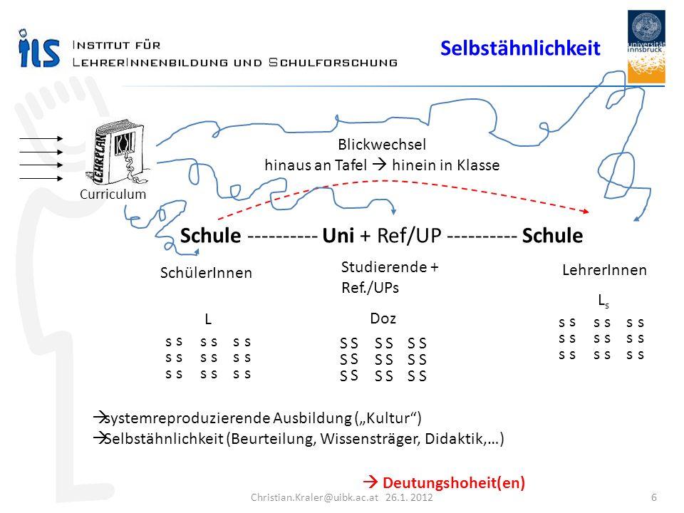 Christian.Kraler@uibk.ac.at 26.1. 2012 6 Schule ---------- Uni + Ref/UP ---------- Schule SchülerInnen Studierende + Ref./UPs LehrerInnen Blickwechsel