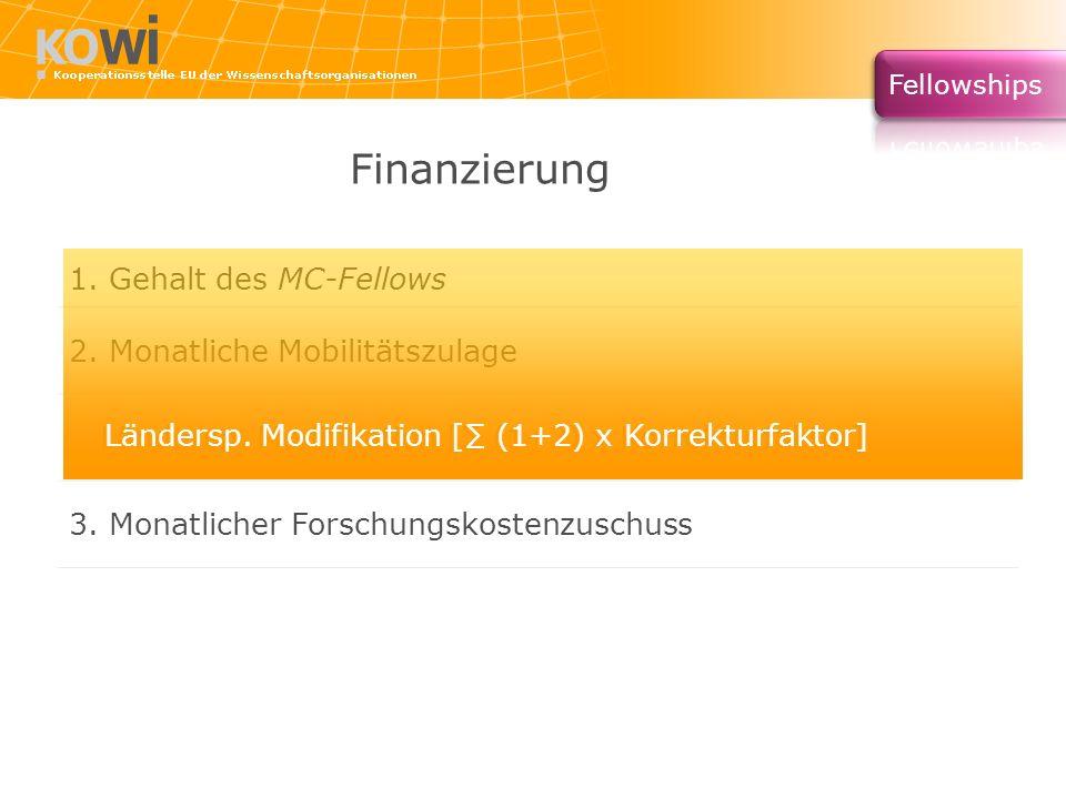 Finanzierung 1. Gehalt des MC-Fellows 2. Monatliche Mobilitätszulage Ländersp. Modifikation [ (1+2) x Korrekturfaktor] 3. Monatlicher Forschungskosten
