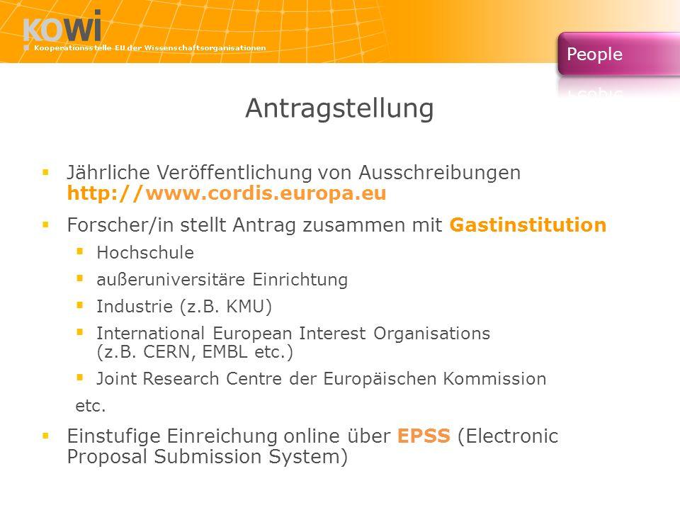 Antragstellung Jährliche Veröffentlichung von Ausschreibungen http://www.cordis.europa.eu Forscher/in stellt Antrag zusammen mit Gastinstitution Hochs