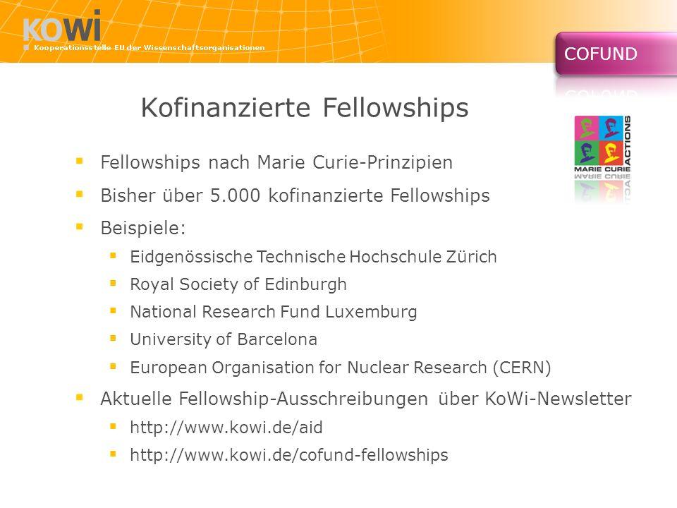 Kofinanzierte Fellowships Fellowships nach Marie Curie-Prinzipien Bisher über 5.000 kofinanzierte Fellowships Beispiele: Eidgenössische Technische Hoc