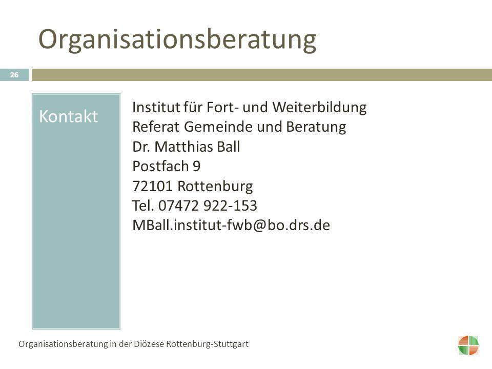 Organisationsberatung Kontakt Institut für Fort- und Weiterbildung Referat Gemeinde und Beratung Dr.