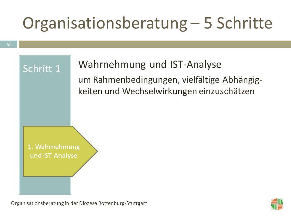 Organisationsberatung – 5 Schritte Schritt 1 Wahrnehmung und IST-Analyse um Rahmenbedingungen, vielfältige Abhängig- keiten und Wechselwirkungen einzuschätzen 1.