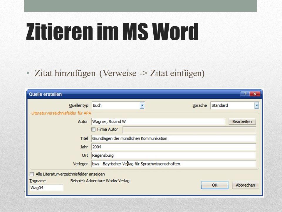 Übung 1 Fügen Sie eine Buchquelle in MS Word ein.