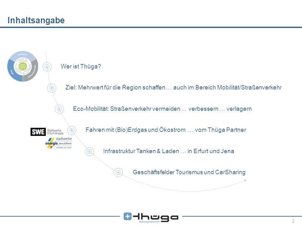 2 Inhaltsangabe Wer ist Thüga? Ziel: Mehrwert für die Region schaffen … auch im Bereich Mobilität/Straßenverkehr Eco-Mobilität: Straßenverkehr vermeid