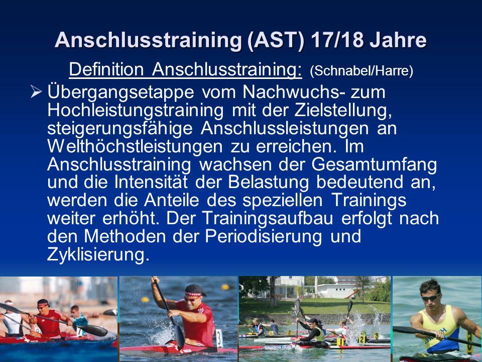 17.11.2007Seite 10 Anschlusstraining (AST) 17/18 Jahre Definition Anschlusstraining: (Schnabel/Harre) Übergangsetappe vom Nachwuchs- zum Hochleistungs