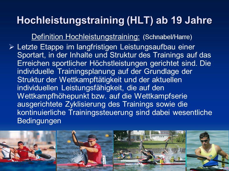 17.11.2007Seite 12 Hochleistungstraining (HLT) ab 19 Jahre Definition Hochleistungstraining: (Schnabel/Harre) Letzte Etappe im langfristigen Leistungs