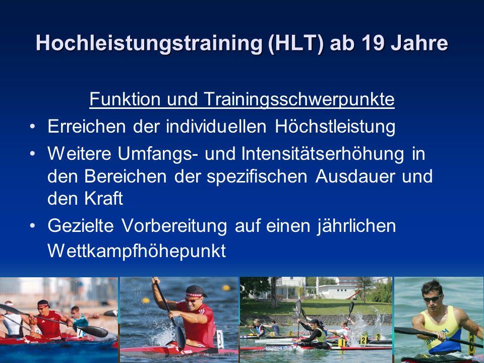 17.11.2007Seite 13 Hochleistungstraining (HLT) ab 19 Jahre Funktion und Trainingsschwerpunkte Erreichen der individuellen Höchstleistung Weitere Umfan