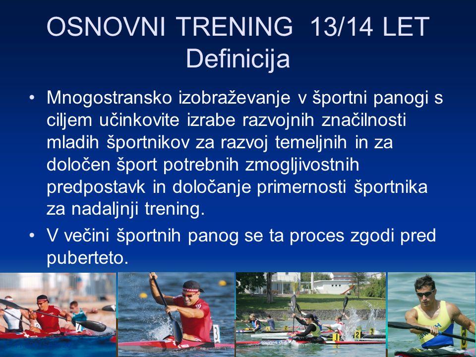 17.11.2007Seite 26 OSNOVNI TRENING 13/14 LET Definicija Mnogostransko izobraževanje v športni panogi s ciljem učinkovite izrabe razvojnih značilnosti