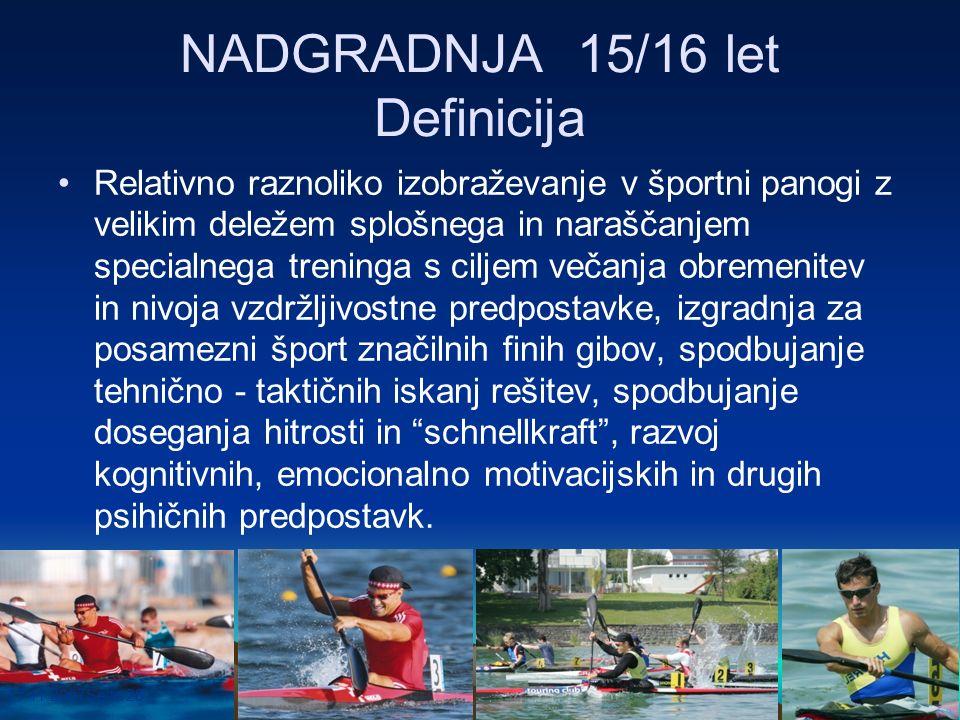 17.11.2007Seite 28 NADGRADNJA 15/16 let Definicija Relativno raznoliko izobraževanje v športni panogi z velikim deležem splošnega in naraščanjem speci