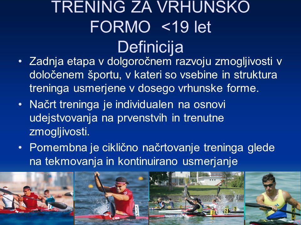 17.11.2007Seite 32 TRENING ZA VRHUNSKO FORMO <19 let Definicija Zadnja etapa v dolgoročnem razvoju zmogljivosti v določenem športu, v kateri so vsebin
