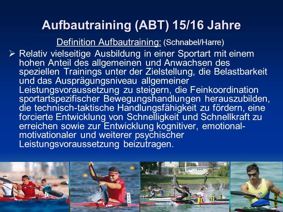 17.11.2007Seite 8 Aufbautraining (ABT) 15/16 Jahre Definition Aufbautraining: (Schnabel/Harre) Relativ vielseitige Ausbildung in einer Sportart mit ei