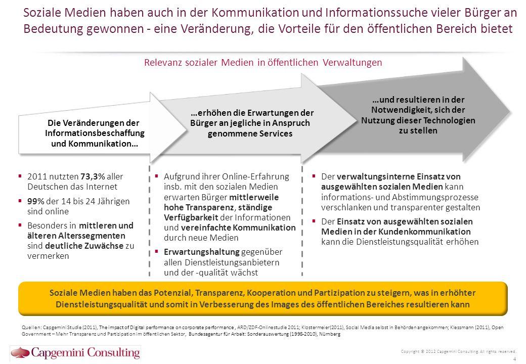 Soziale Medien bedeuten für die öffentliche Verwaltung eine Reihe von Chancen, aber auch Herausforderungen Copyright © 2012 Capgemini Consulting.