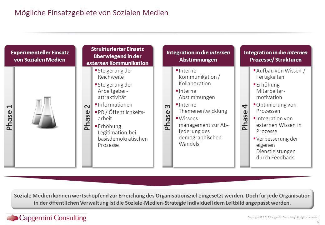 Mit einer Analyse des Reifegrads der Dienstleistungen lässt sich ein exzellenter Startpunkt zur Formulierung einer Soziale Medien Strategie schaffen Mögliche Reifegradstufen für Dienstleistungen Copyright © 2012 Capgemini Consulting.