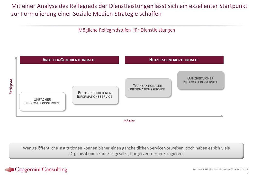 Mit einer Analyse des Reifegrads der Dienstleistungen lässt sich ein exzellenter Startpunkt zur Formulierung einer Soziale Medien Strategie schaffen Copyright © 2012 Capgemini Consulting.
