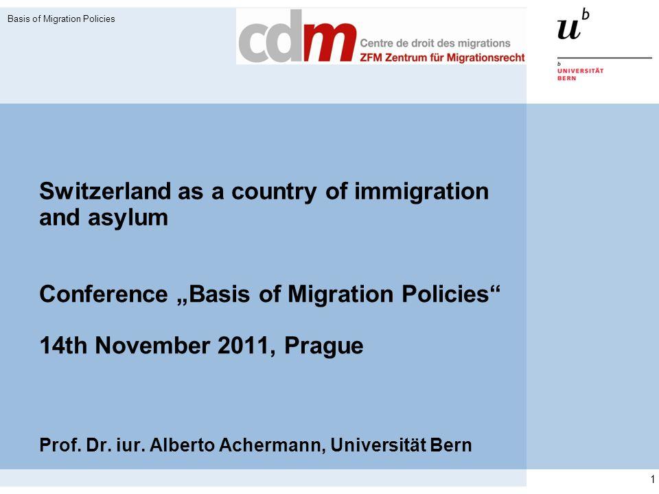Gesetzliche Grundlagen der Schweizer Migrationspolitik Ausländergesetz von 2005 (in Kraft seit 2008) mit zahlreichen Verordnungen Freizügigkeitsabkommen mit EU und EFTA (progressiv; in Kraft seit 2002) Schengen-Assoziierung der Schweiz (seit Ende 2008 operabel) Bilaterale Verträge (Niederlassung, Rückführung, weitere) Menschenrechtsabkommen Basis of Migration Policies 2