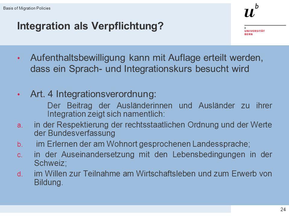 Integration als Verpflichtung? Aufenthaltsbewilligung kann mit Auflage erteilt werden, dass ein Sprach- und Integrationskurs besucht wird Art. 4 Integ