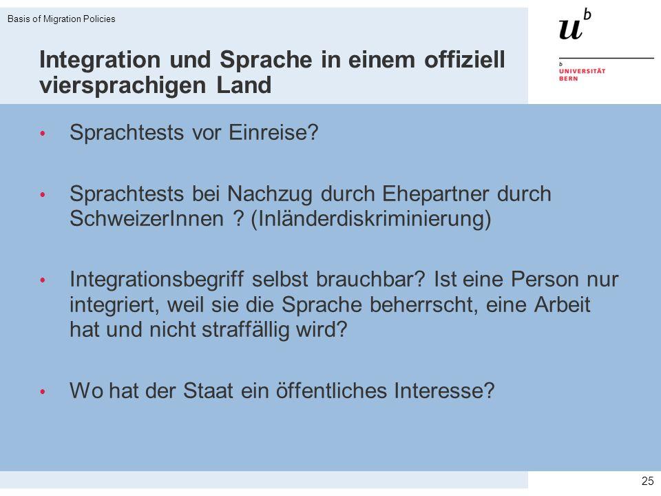 Integration und Sprache in einem offiziell viersprachigen Land Sprachtests vor Einreise? Sprachtests bei Nachzug durch Ehepartner durch SchweizerInnen