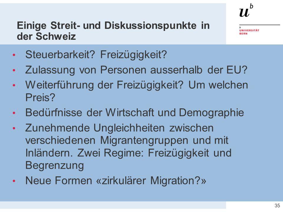 Einige Streit- und Diskussionspunkte in der Schweiz Steuerbarkeit? Freizügigkeit? Zulassung von Personen ausserhalb der EU? Weiterführung der Freizügi